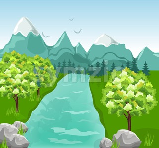 Mountains river Vector. Beauty nature Spring green background Stock Vector