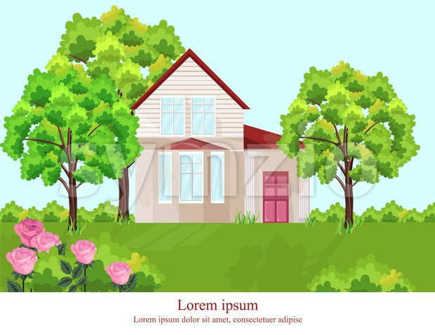 Architecture facade house Vector. Nature beautiful green yard background Stock Vector