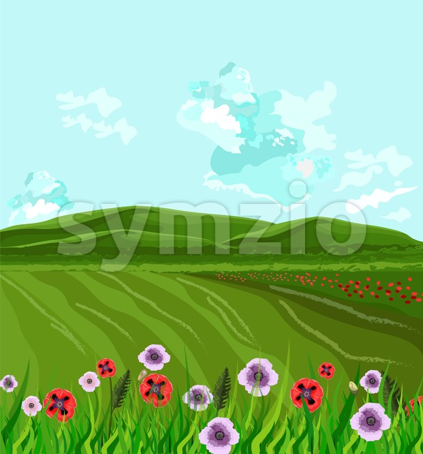 Green fields Vector. Spring background decor illustration Stock Vector