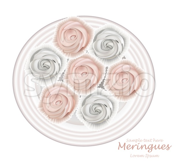 Meringues plate Vector. Sweet dessert Top view detailed illustration Stock Vector
