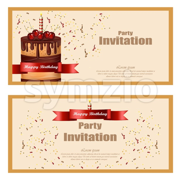 Invitation party card Vector. Birthday, wedding, event celebrate decor Stock Vector