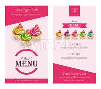 Dessert Menu Cupcakes Vector realistic. banner frame layout template 3d illustration Stock Vector