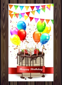 Happy Birthday cake with balloons and confetti Vector. Invitation card 3d detailed illustration Stock Vector