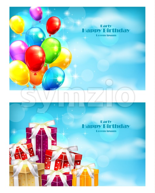 Balloons and gifts party invitation card Vector. celebrate events banner poster Stock Vector
