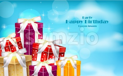 Gift boxes on blue sky background. Vector realistic 3d illustration Stock Vector
