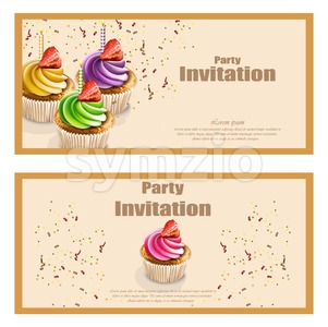 Invitation party card with cupcakes Vector. Birthday, wedding, event, celebrate decor Stock Vector