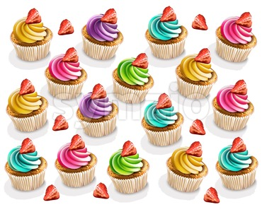 Cupcakes colorful pattern Vector realistic. 3d illustration Stock Vector