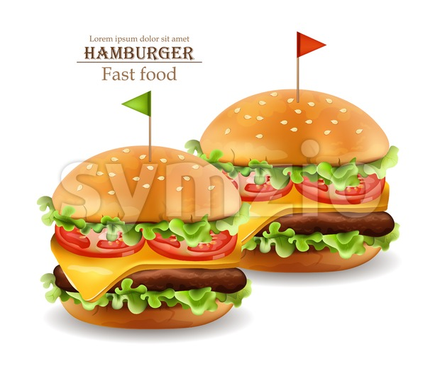 Hamburgers Vector realistic. Cheese and tomatoes. 3d Detailed illustration Stock Vector