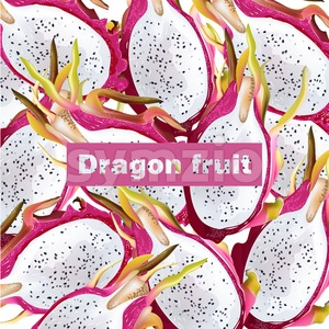 Dragon fruit pattern Vector realistic. Summer tropic pitaya healthy fruits background Stock Vector