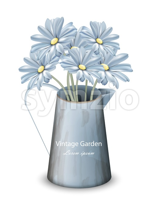 Vintage spring flowers background Vector. Blue daisies floral bouquet. Retro style decor Stock Vector