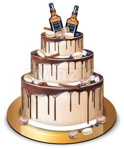 Happy Birthday delicious cake Vector. Whiskey bottles and macaroons decor. Modern sweets design Stock Vector