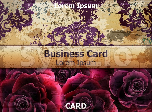 Vintage business card with Rose flowers Vector. template layout card Stock Vector