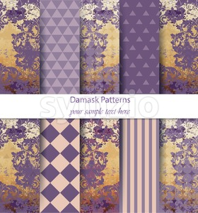 Damask patterns set collection Vector. Classic ornament various colors with abstract background textures. Vintage decor. Trendy color fabric texture Stock Vector
