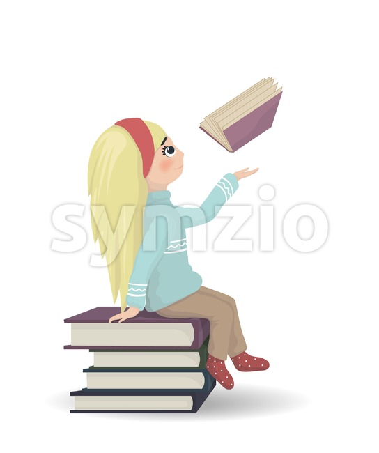 Girl seating on a bunch of books Vector. knowledge and reading symbol Stock Vector