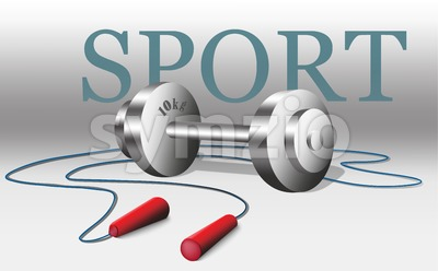 Sport equipment Vector. Weight and rope, gray background Stock Vector