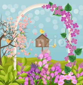 Beautiful spring card with bird house Vector illustration Stock Vector