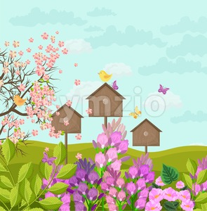 Beautiful spring card with bird houses Vector illustration Stock Vector