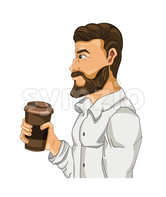 Man drinking coffee Vector cartoon character illustration Stock Vector