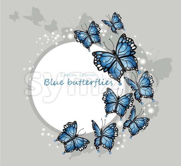 Blue butterflies card Vector illustration. Round frame place for text Stock Vector