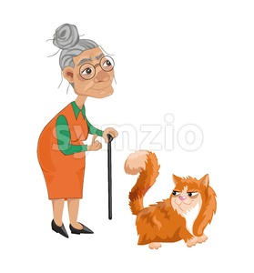 Old lady and a cat Vector. Cartoon character detailed illustration Stock Vector