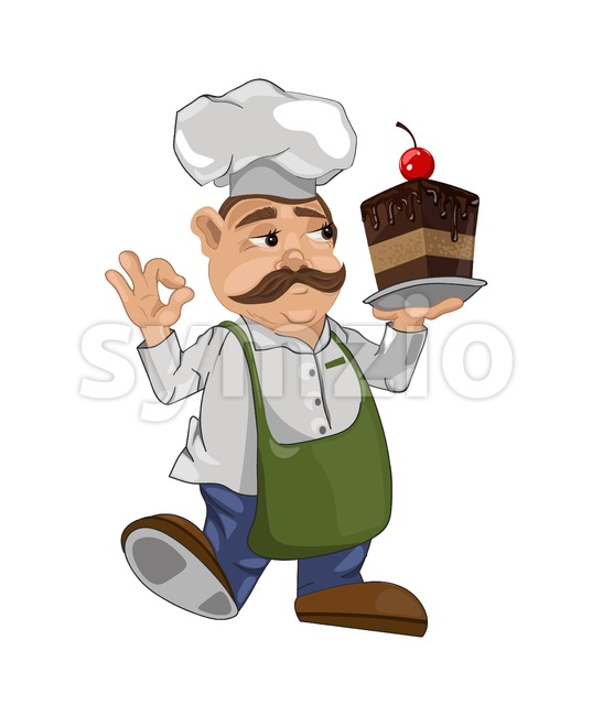 Cook chief with a cake slice Vector. Master chief cartoon character illustration Stock Vector