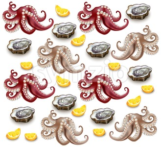 Octopus and oysters pattern Vector realistic. Detailed 3d illustration Stock Vector