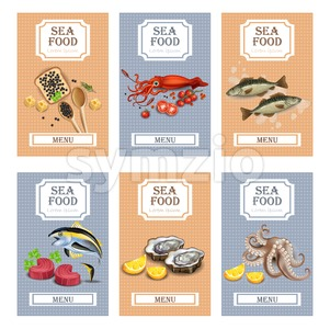 Sea food menu cards Vector realistic. Layout Template with oysters, tuna fish, octopus and caviar Stock Vector
