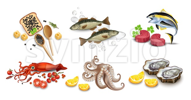 Tuna fish, caviar, squid, oysters and octopus seafood set. Vector realistic detailed illustration Stock Vector