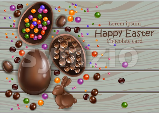 Happy Easter chocolate eggs card. Vector 3d realistic illustration. top view, wooden background Stock Vector