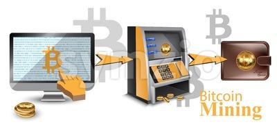 Digital vector bitcoin cryptocurrency realistic money transfers financial concept. Cash machine, wallet, computer Stock Vector