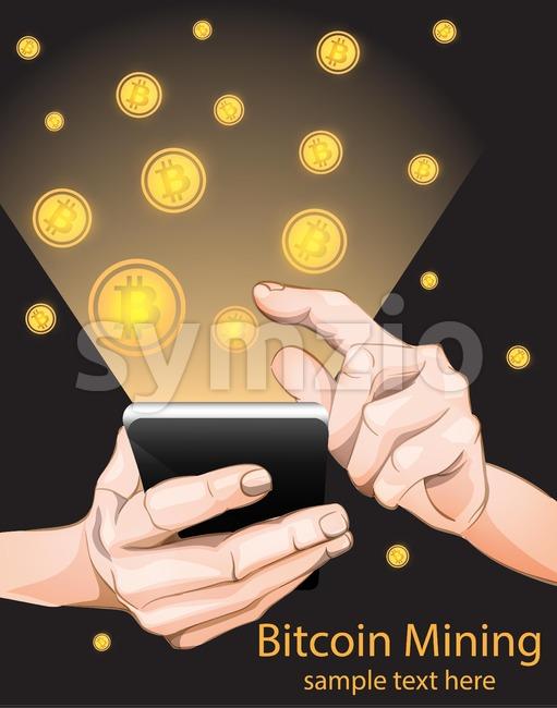 Bitcoin Mining from smart phone. Vector illustration Stock Vector