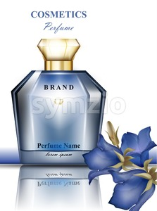 Perfume bottle with delicate blue flowers fragrance. Realistic Vector Product packaging design Stock Vector