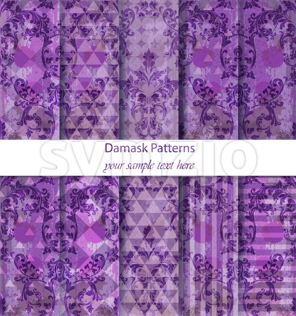 Damask patterns set collection Vector. Baroque ornament on modern abstract background. Vintage decor. Ultra violet color fabric texture Stock Vector