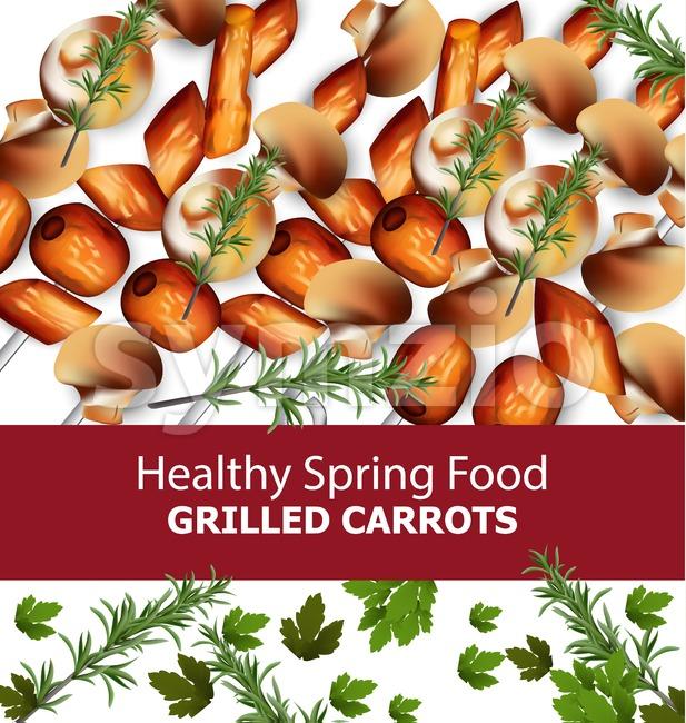 Grilled carrots Vector. Menu template realistic illustrations Stock Vector