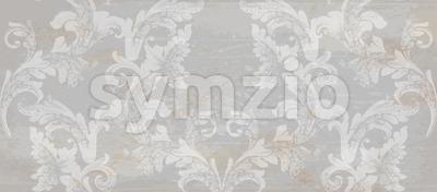 Grunge paper Damask pattern ornament decor Vector. Baroque fabric texture illustration design Stock Vector