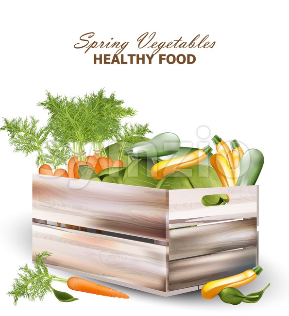 Healthy spring vegetables in a wooden box Vector realistic illustration Stock Vector
