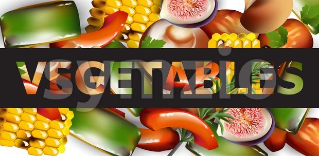 Healthy spring vegetables banner Vector realistic illustration