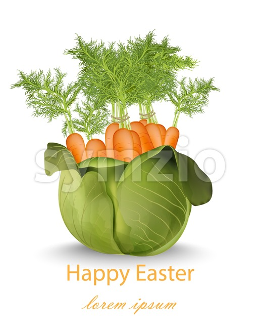 Happy Easter card with carrots bouquet Vector illustration Stock Vector