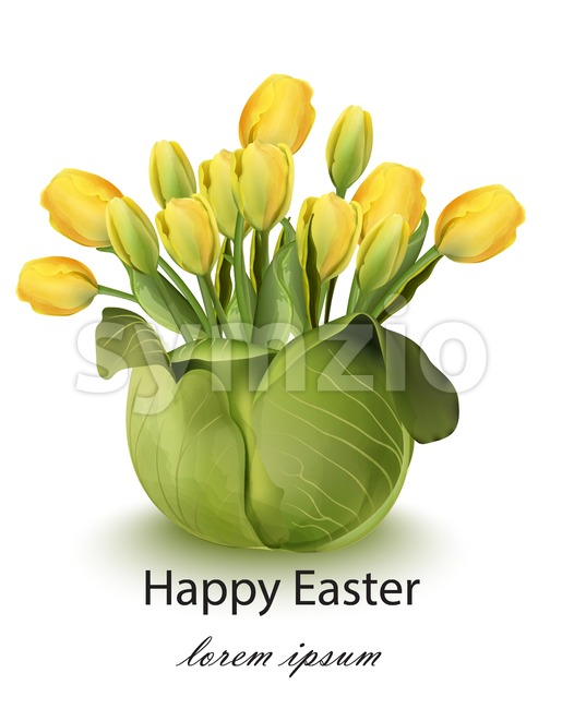 Happy Easter tulip flowers bouquet card Vector. Spring floral beauty Yellow color Stock Vector