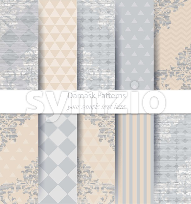 Damask patterns set collection Vector. Baroque ornament delicate mix. Vintage decor. Trendy color fabric texture Stock Vector
