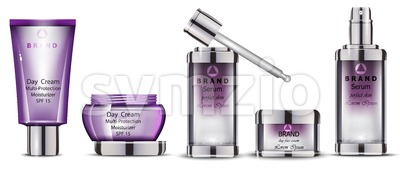 Cosmetics realistic Vector packaging. Day cream, serum collection products mock up Stock Vector