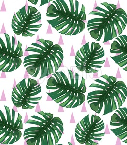Green tropical leaves Vector pattern background. abstract summer template Stock Vector