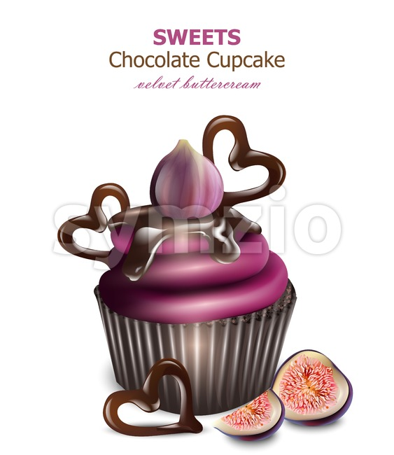 Chocolate cupcake with fig fruits frosting Vector. Retro vintage backgrounds Stock Vector