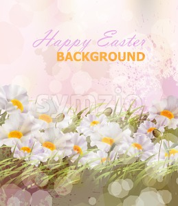 Happy Easter watercolor flowers background Vector illustration Stock Vector