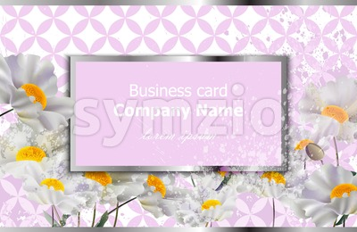 Business card with white chamomile flowers. Vector realistic floral decor, 3d illustration Stock Vector