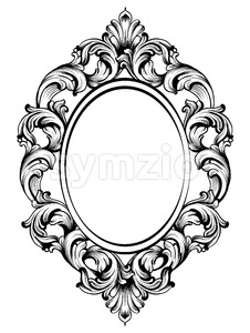 Baroque frame decors. Detailed rich ornament vector illustration graphic line art Stock Vector