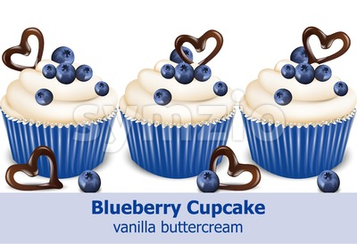 Blueberry cupcakes Vector realistic. 3d detailed dessert illustration Stock Vector