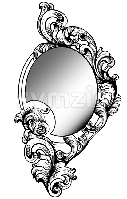 Baroque mirror frame. Vector Imperial decor design elements. Rich encarved ornaments line art Stock Vector