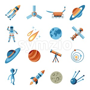 Digital vector line icons set space and rockets illustration with elements for astronomy Stock Vector