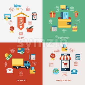 Digital vector line icons set mobile shopping and store illustration with elements for online electronic commerce infographics Stock Vector